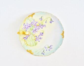 T&V LIMOGES Antique Porcelain Candle Holder Signed M.E.M. 1903