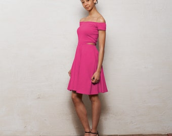 Minnie Off Shoulder Bardot Skater Dress with Cut Outs, Strapless Knee Length Off the Shoulder Dress, Womens Cut Out Summer Dress in Pink