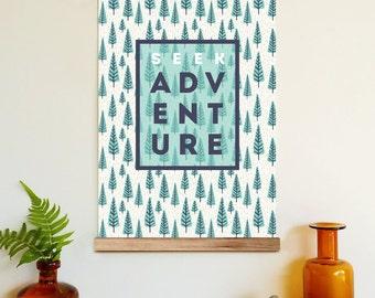 Seek adventure - wall hanging, wooden poster hanger