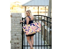 Large Utility Tote Yellow Floral