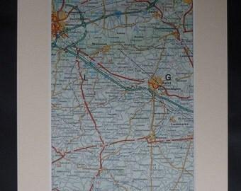1980s Vintage Aalst Map, Available Framed, Wetteren Art, Ninove Gift, Liedekerke Wall Art, Retro Zele Decor, Gentbrugge Print, St Amandsberg