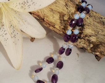 Amethyst, Rock Crystal and Opalite Moonstone Necklace (GN 0016)