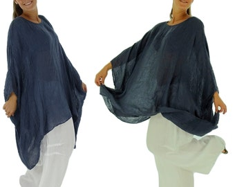 HH900MBL ladies tunic poncho blouse linen layered look one size medium blue
