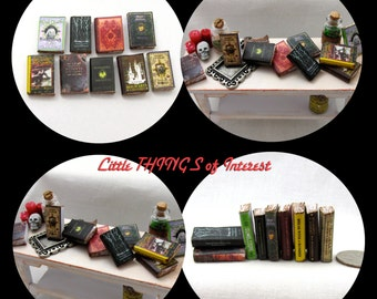 "9 HOGWARTS TEXTBOOK Dollhouse Miniature 1:12 Scale Prop Books Harry Potter ""Oculus Reparo!"" Hermione Granger Faux Books Wizard Witch Fortune"