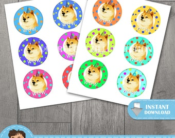 Doge Cupcake Topper, Instant Digital Download, High Resolution Hand Drawn Illustrations, For Scrapbook and Stickers, Commercial & Personal
