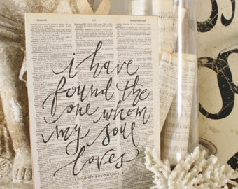 I Have Found The One Whom My Soul Loves Sign Vintage Dictionary Bible Verse Art Print Farmhouse Decor Wedding Scripture Wood Fixer Upper