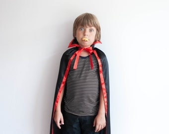 Dracula Black and Red Satin Cape with Colar