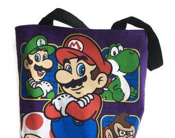 Mario Brothers Bag • Upcycled T-shirt Bag • Super Mario Bag • Tee Shirt Tote Bag •