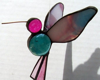 Stained Glass Hummingbird, Hanging  Bird Suncatcher, Bird Ornament, Home Decor, Small Iridescent, Glass Bird, Symbol of Enjoyment, Gift