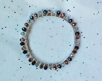 Spacedust, Crystal Beaded Wire Wrapped Bangle Bracelet