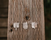 Simple Quartz Crystal Choker Necklace in Sterling Silver- Free Shipping