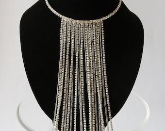 Long Chain Bridal Necklace, Rhinestone Tassel Necklace, Bridal Necklace Crystal, Bridal Accessories, Wedding Jewelry, Wedding Necklace