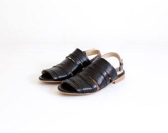 Flat Leather sandal  black slingbacks Strips geometric ADIKILAV ON SALE 20%