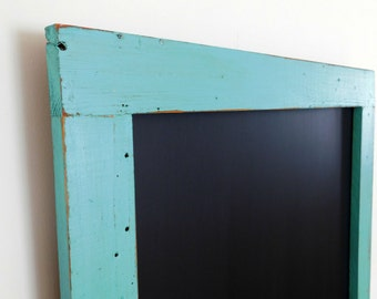 Extra Large Framed Chalk Board Reclaimed Wood Shown in Turquoise 30 x 40 *MORE COLORS AVAILABLE*