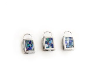 Natural Opal Mosaic Sterling Silver Pendant