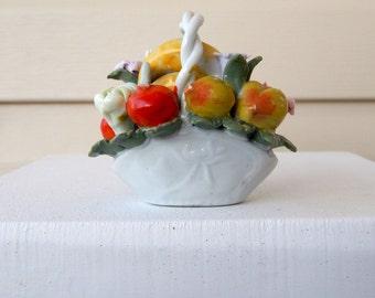 Vintage Ceramic Fruit Basket Figurine China, Mid Century Porcelain Fruit Flowers Basket Figurine, Cottage Chic Harvest Thanksgiving Decor