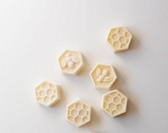 10 Honey & Goats Milk Soap Party Favors, Handmade Honeycomb and Honey Bee Hexagonal Soap, Set of 10 each 1.4 oz