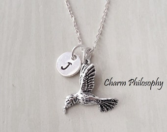 Hummingbird Necklace - Initial Necklace - 925 Sterling Silver Jewelry - Initial Hand Stamped Personalized Monogram