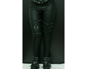 Goth leggings. Alternative clothing. Gothic pants. Black leggings. Fake leather. Goth clothes. Gothic clothes