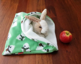 Green guinea pig bed - polar bear - snuggle bag - fleece cuddle sack - sleeping bag - pet bed - sleeping bag - pet pouch - hidey - pet bag