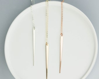 Long Necklace, Long Gold Bar Necklace, Gold Spike, Rose Gold Spike,Silver Spike, Gold Necklace, Layering Necklace , Long Necklace