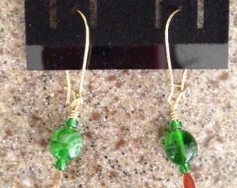 Glow in the Dark Czech Bead Earrings on Long Kidney Ear Wires Retro 1980s