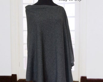 80% Cashmere poncho / Poncho / Cape / Cashmere / Dark gray