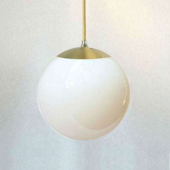 Mid century modern white glass 8 globe pendant light for Mid century modern globe pendant light