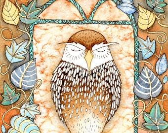 Sleepy Little Owl Card - Cute Sleeping Owl Birthday Card Card - Watercolour Woodland Animal