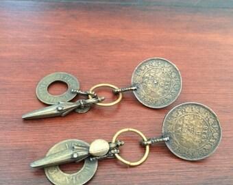 Long Metal Earrings, Long Brass Coin Earrings, Metal Post Earrings, Multi Piece Brass Earrings, Metal Sculpture Earrings, Large Metal Posts