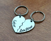 Father Daughter- Customized Split Heart Key Chain Set.. Father, Mother, Best Friend, Husband, Wife, Ect..