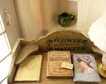 Old books (closed), Miniature in paper, Needle bag (empty), Made in France, French Dollhouse, 1:12th scale