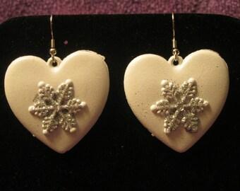 WHITE HEART Earrings-Snowflakes