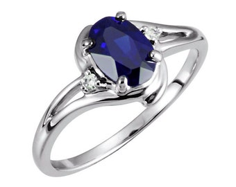 Blue Sapphire Gold Ring / 10K White Gold Sapphire Ring with Diamond Accents