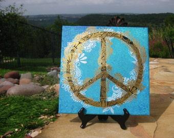 Henna Peace Sign Canvas