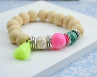 Stone bracelet - boho wooden bracelet - wristband yoga - meditation - stretch bracelet - elastic - man - woman - customizable size