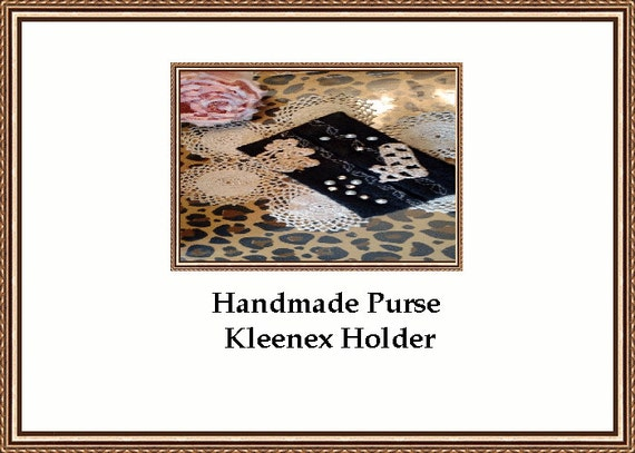 Black beauty Traveling Purse Kleenex Holder With Antique Crocheted Lace