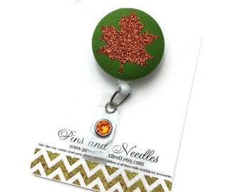 Fall ID Badge Reel - Retractable Badge Reel - Leaf Badge Holder - Cute Id Badge Reels - Orange Leaf ID Badge Reel -Nurse Gift -Leaf ID Badge