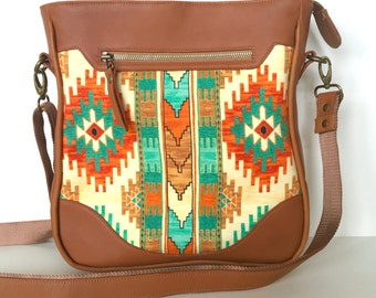Sassy Satchel:  Mint, orange and tan aztec print with a soft and subtle tan leather