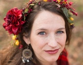 fall reds floral crown - adult
