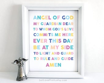 Guardian Angel Prayer - 8x10 Print - Inspirational Christian Art