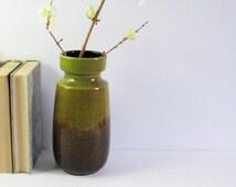 Vintage West Germany Vase - Scheurich 242-22 - Olive Green & Brown Speckle - Mid Century Modern Ceramic Vase - Spring Home Decor Art Pottery
