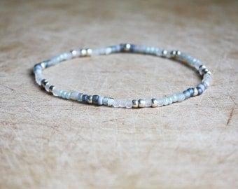 Grey, White & Silver Bracelet - Boho Bracelet