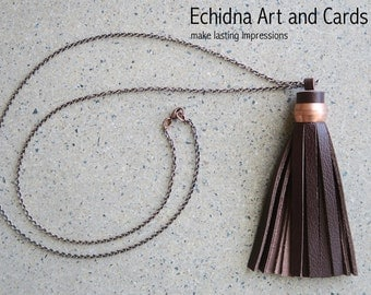Boho Leather Tassel Necklace, Leather Pendant on Copper Chain, Bohemian Jewelry