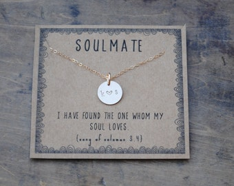 soulmate initial necklace  .  silver or goldfill layering necklace  . Anniversary gift for girlfriend for wife  .  Personalized jewelry gift