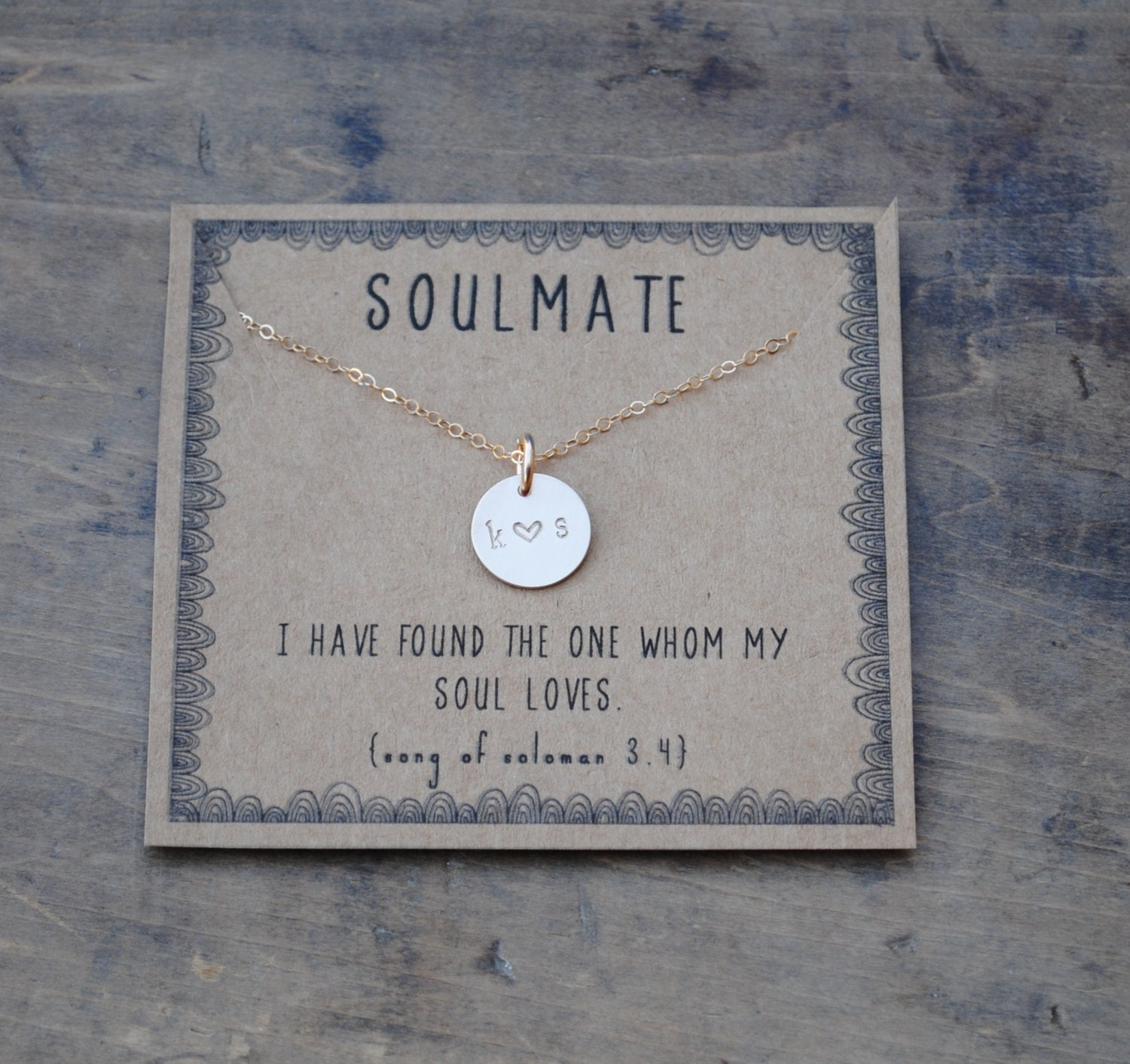 Unusual Gifts For Wife: Soulmate Initial Necklace . Silver Or Goldfill Layering