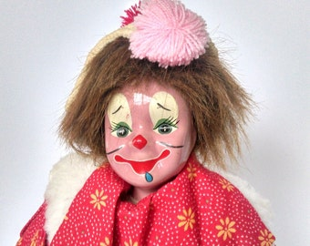 Vintage Clown, Porcelain Clown Doll, Hubao Clown, Porcelain Doll, Soft Body, Stuffed Doll, Clown Figurine, Happy Face in Great Condition!