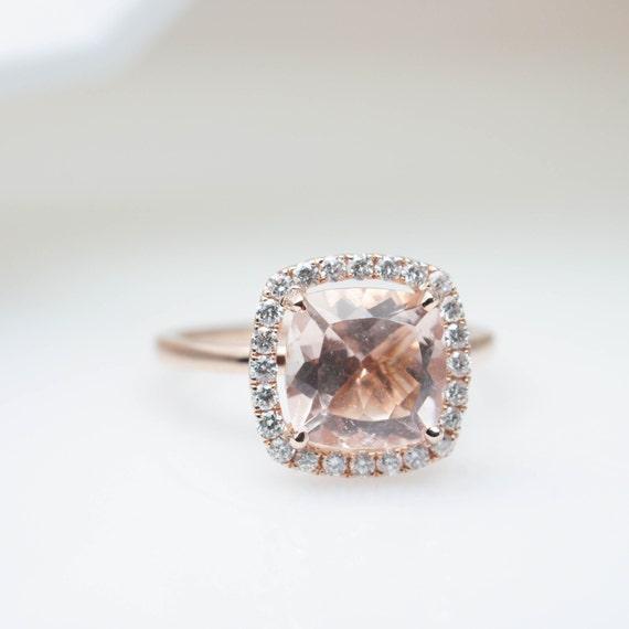 Beautiful 8x8mm Cushion Morganite Engagement Ring Diamond Halo Morganite Ring Wedding Ring Rose Gold Halo Engagement Jewelry