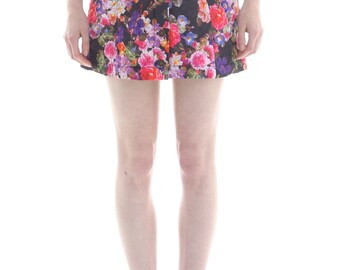 Quilted Button Front Skirt in Floral Print by Megan Crook