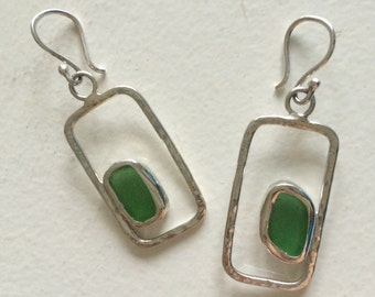 Sea Glass Sterling Silver Bezel Set Floating Green Seaglass Geometric Earrings with Hammer Texture